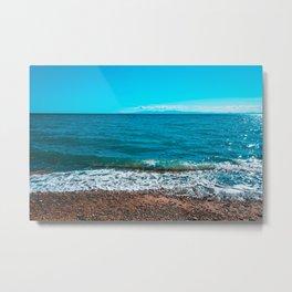 Blue sea at Greece with stony beach Metal Print