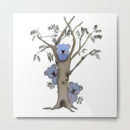The Little Bear in a tree with other blue koalas Metal Print