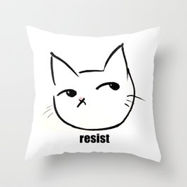 Resist kitty Throw Pillow