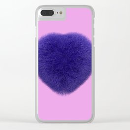 Furry Heart Clear iPhone Case