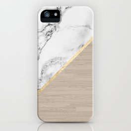 Modern white marble gold stripe wood color block iPhone Case