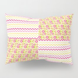 Pink n Green Country Chevron and Floral Checkered Pillow Sham