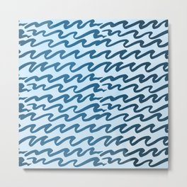 Abstract Metallic Sea Waves Saltwater Taffy Teal on Blue Raspberry Metal Print