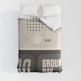 Groundhog Day, Bill Murray, minimalist movie poster, Andie MacDowell, Harold Ramis Comforters