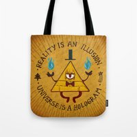 hologram Tote Bags featuring Reality is an illusion~Universe is a hologram by Inkbyte Studios