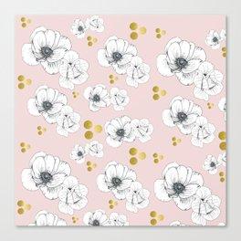 Spring Romance Minimalist Floral Canvas Print