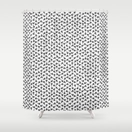 Forget Me Nots - Black on White Shower Curtain