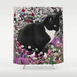 Freckles in Flowers II - Tuxedo Kitty Cat Shower Curtain