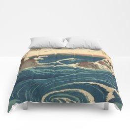 Vintage poster - Japanese Wave Comforters