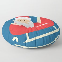 Merry Christmas Santa Claus Flying in his Sleigh Floor Pillow