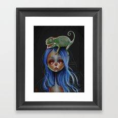 Little Chameleon Head Framed Art Print