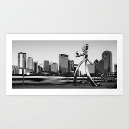 Traveling Man - Dallas Skyline Panorama - Black and White Art Print