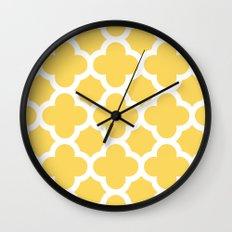 Yellow Quatrefoil Wall Clock