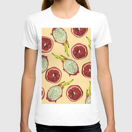 Pomegranate - Dragon Fruit Pattern yellow T-shirt