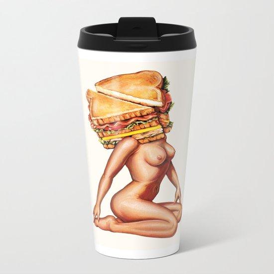Sandwich Girl Metal Travel Mug