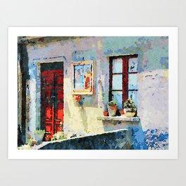 Catanzaro: door, saintly edicule and window Art Print
