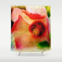 hibiscus Shower Curtains featuring Hibiscus by Christine Belanger