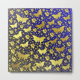 blue,gold,flowers, stars, butterfly, pattern, bright, shiny, elegant, color Metal Print