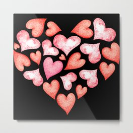 Love gift filled with colorful hearts Metal Print