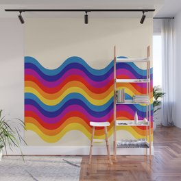 Wavy retro rainbow Wall Mural