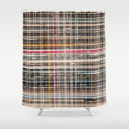 structure with red lines Shower Curtain