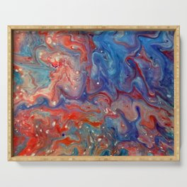 Fluid Abstract 18; Fire Meets Oceans Waves Serving Tray
