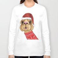 alpaca Long Sleeve T-shirts featuring Alpaca Christmas by Barruf