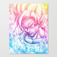 goku Canvas Prints featuring Multicolor strength by Creadoorm