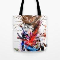 lara croft Tote Bags featuring miss lara croft by yossikotler