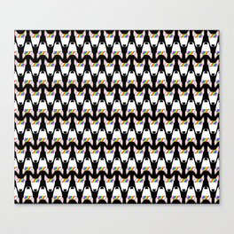 Rainbow Bully repeat pattern (small) on a black background Canvas Print