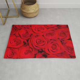 A bunch of roses. Aerial view. Romantic roses. Lovely nature background Rug