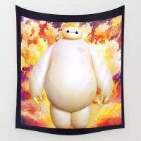 big hero 6 Wall Tapestries featuring big hero  by ururuty