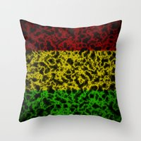 rasta Throw Pillows featuring Electric Rasta by organicdreams