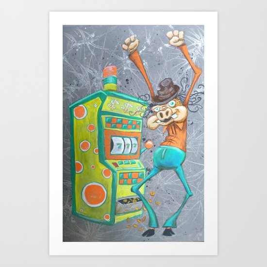 Skinny Pig playing Slot Machine Art Print