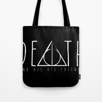 deathly hallows Tote Bags featuring Deathly Hallows by Taste of Ink Designs