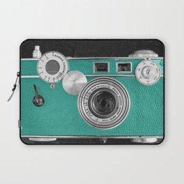 Teal retro vintage phone Laptop Sleeve