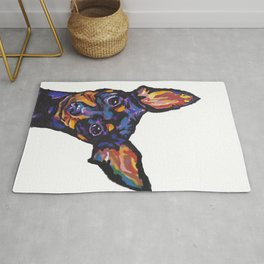 Miniature Pinscher Dog Portrait bright colorful Fun Pop Art Dog Painting by LEA Rug