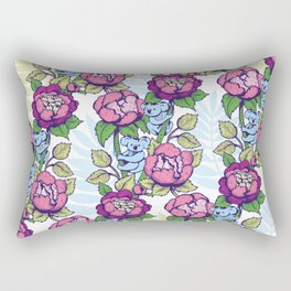 Peony flowers and koalas bears Rectangular Pillow