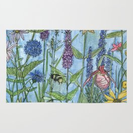 Lady Slipper Orchid Garden Flower Botanical Floral Watercolor on Canvas Rug