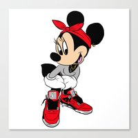 minnie mouse Canvas Prints featuring MINNIE MOUSE AJ4 by EA88