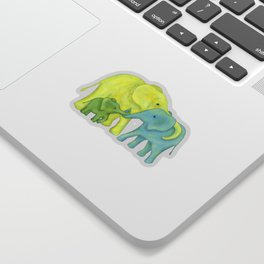 Elephant Family of Three in Yellow, Blue and Green Sticker