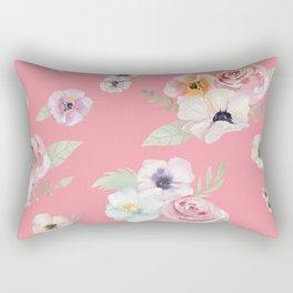 Floral I - Pink Rectangular Pillow
