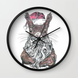 Santa Squirrel Wall Clock