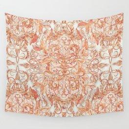 Autumn Peach Art Nouveau Pattern Wall Tapestry