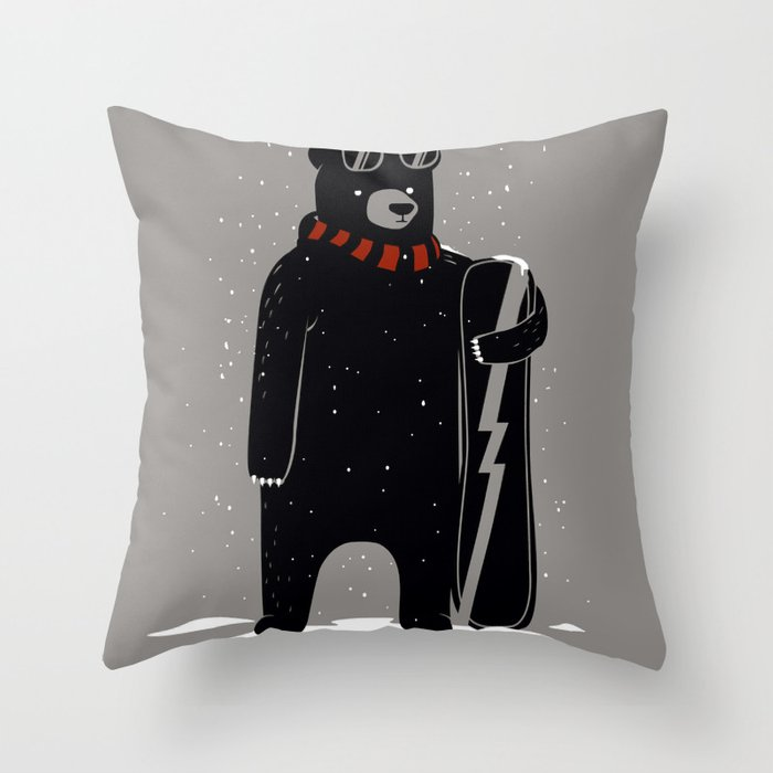 Bear on snowboard Throw Pillow