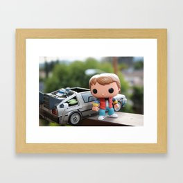 Marty and Delorean Framed Art Print