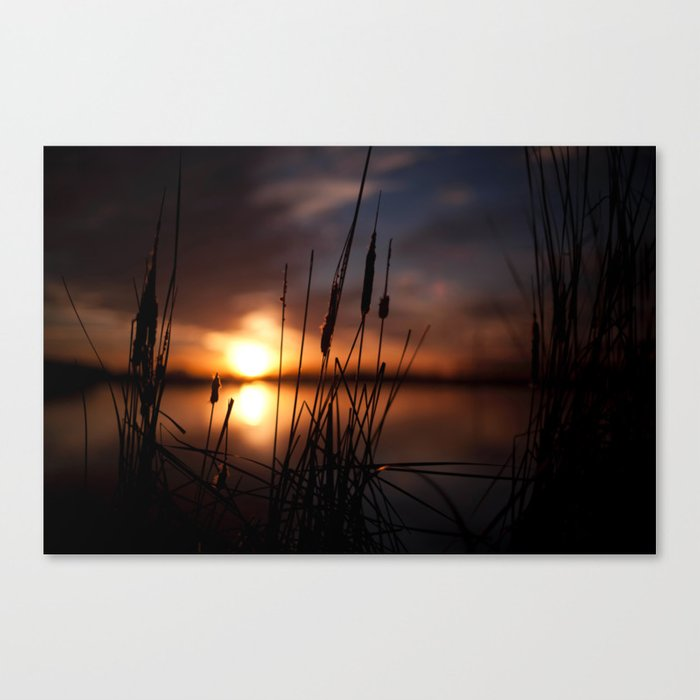 Sunset Lake and Silhouette Canvas Print