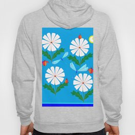 White Spring Daisies, Dragonflies, Lady Bugs and the Sun Hoody
