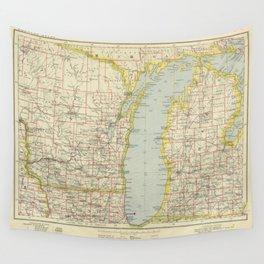 Vintage Map of Lake Michigan (1883) Wall Tapestry