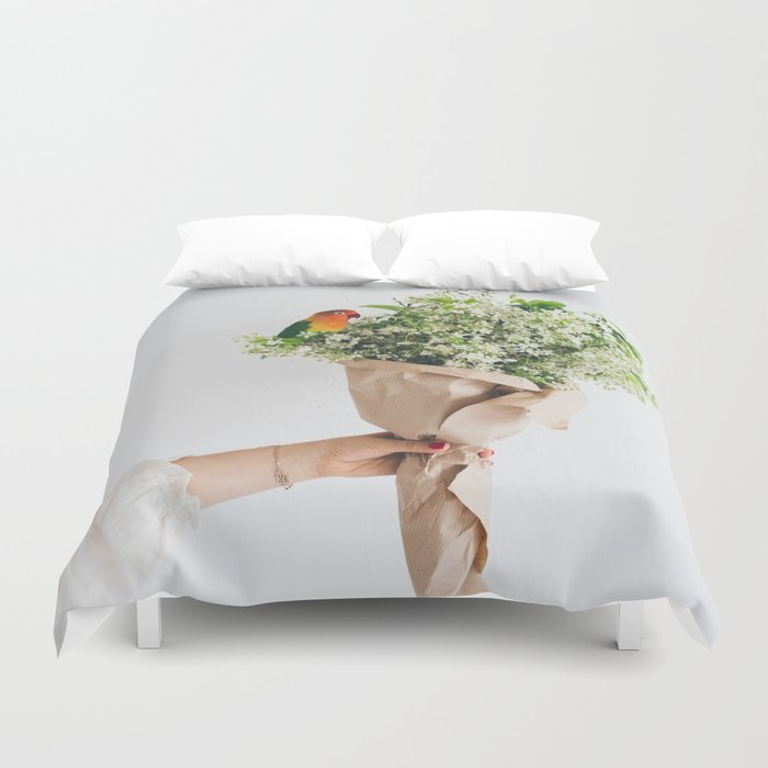 Cherry Blossom and parrot Duvet Cover